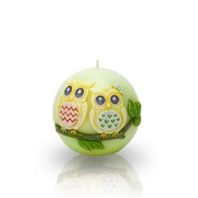 Świeca Funny Owls kula 80