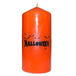 Świeca Halloween 70x150 walcowa orange nadruk