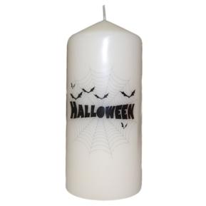 Świeca Halloween 70x150 walcowa kremowa nadruk
