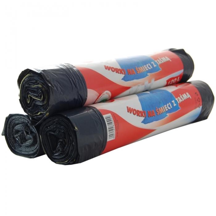 Worki LDPE 120l czarne z taśmą ściągającą 10 szt
