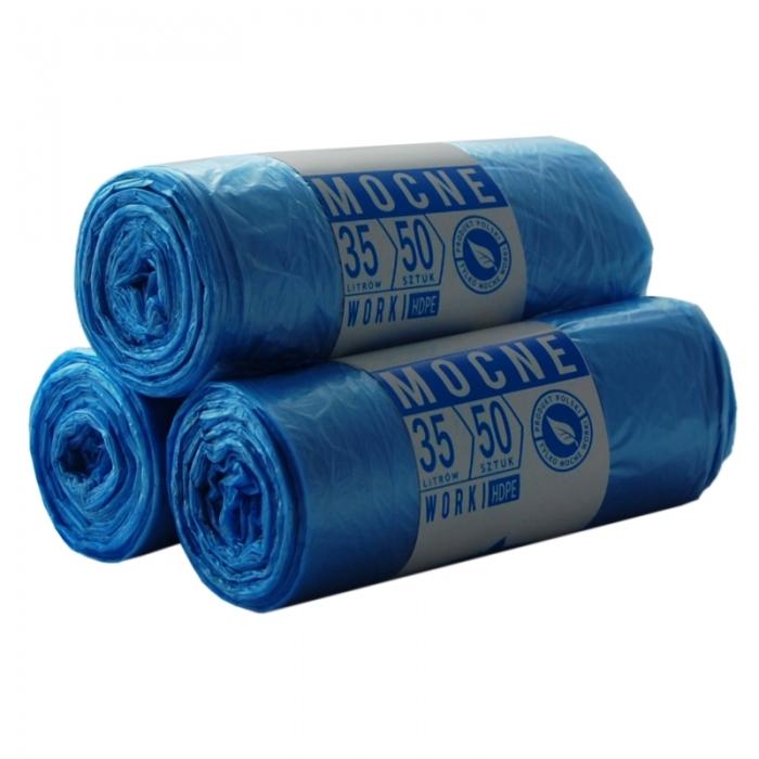 Worki HDPE 35l 50szt. niebieskie