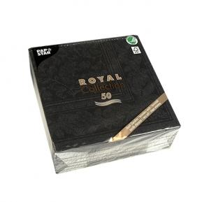 Serwetki Royal Coll. 1/4, 40x40 a'50, czarny Ornam