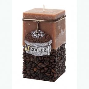 Świeca rustic COFFEE brąz klocek 70/140