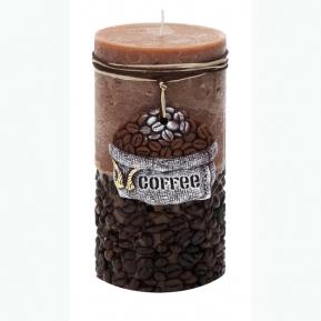Świeca rustic COFFEE brąz słupek 70/140