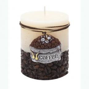 Świeca rustic COFFEE słupek biała 70/90